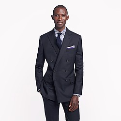 Ludlow double-breasted peak lapel blazer with double vent in Italian wool