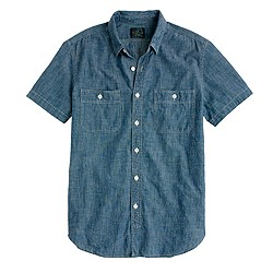 Short-sleeve shirt in Japanese chambray