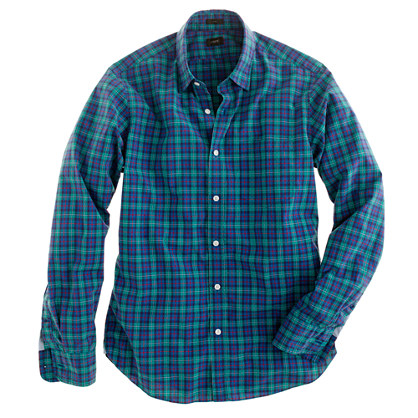 Slim Secret Wash shirt in point green tartan