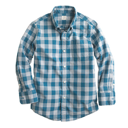 Boys' Secret Wash shirt in oversize gingham