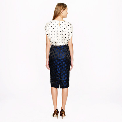 No. 2 pencil skirt in dot brocade