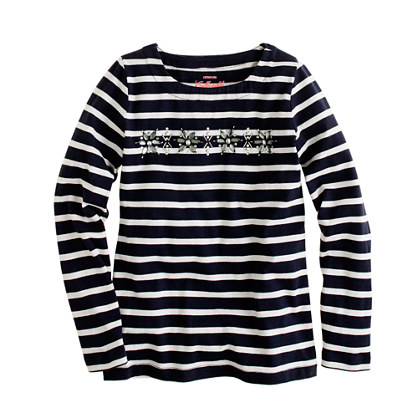 Girls' long-sleeve stripe jeweled snowflake tee