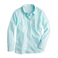 Shrunken shirt in dot oxford