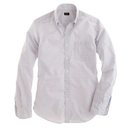 Slim Secret Wash shirt in engine red check