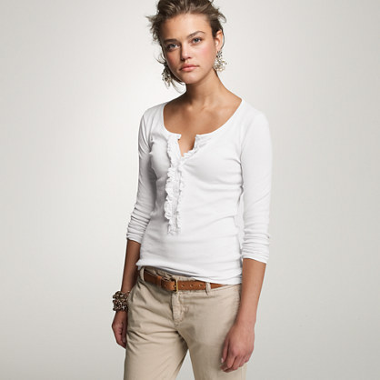 Perfect-fit ruffle henley tee