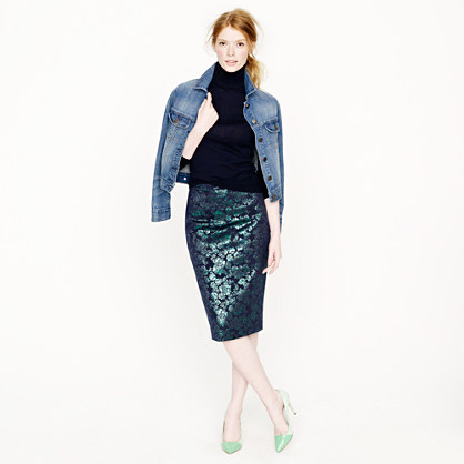 No. 2 pencil skirt in metallic floral