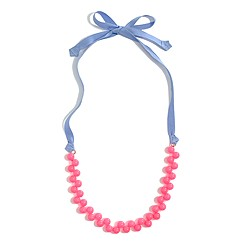 Factory girls' bead cluster ribbon necklace