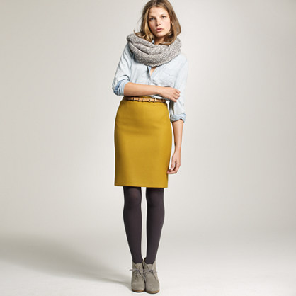 Petite double-serge pencil skirt