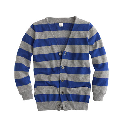 Boys' cotton-cashmere stripe cardigan
