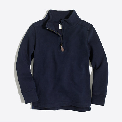Factory boys' sueded half-zip popover