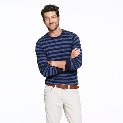 Cotton-cashmere crewneck sweater in nautical stripe
