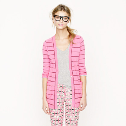 Classic merino long cardigan in stripe
