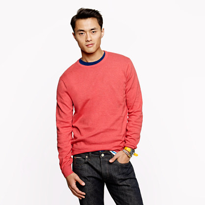 Tall cotton-cashmere crewneck sweater