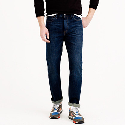 Slim-straight jean in dark worn wash