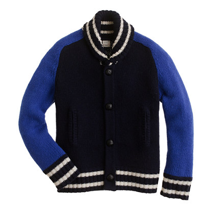 Boys' lambswool varsity jacket