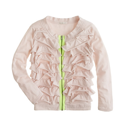 Girls' neon zip ruffle cardigan