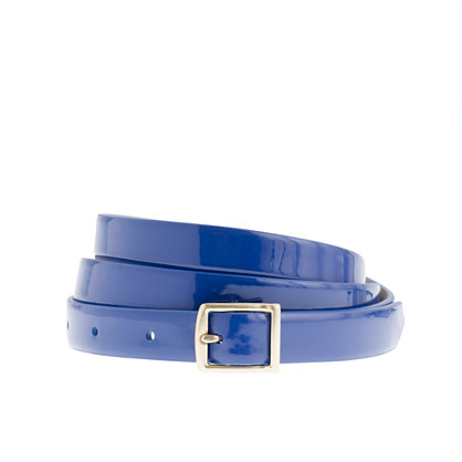 Patent leather square-buckle belt