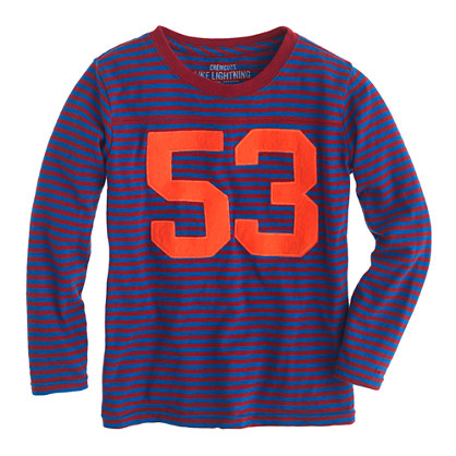 Boys' long-sleeve stripe football #53 tee