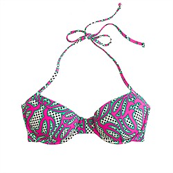 Underwire halter top in neon swirl print