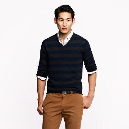 Merino V-neck sweater in rugby stripe