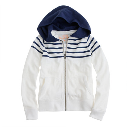 Boys' heavyweight slub cotton zip hoodie in stripe
