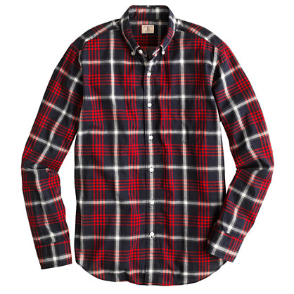 Slim Secret Wash shirt in dark poppy plaid