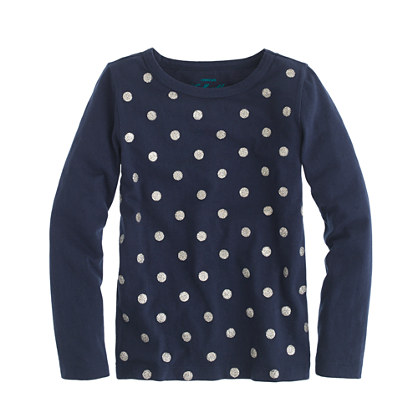 Girls' long-sleeve glitter polka-dot tee