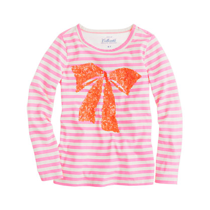 Girls' long-sleeve sequin bow tee in stripe