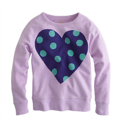 Girls' polka-dot heart sweatshirt