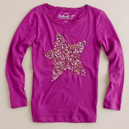Girls' long-sleeve sequin star tee