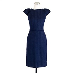 Cap-sleeve dress in tonal tweed