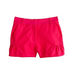 Flared silk-cotton faille short
