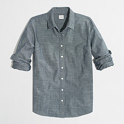 Factory classic button-down shirt in dotted chambray