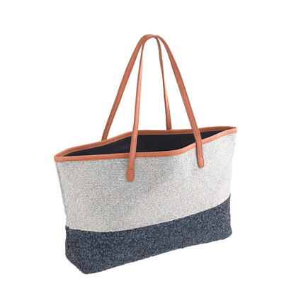 Girls' glitter tote bag in colorblock