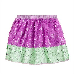 Girls' colorblock paillette skirt