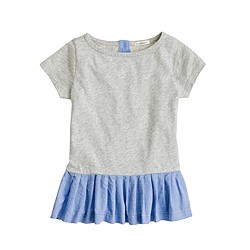 Girls' pleated peplum tee
