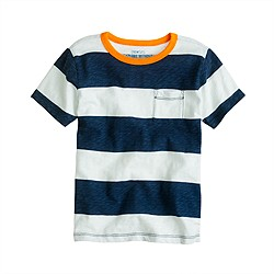 Boys' ringer pocket tee in wide stripe