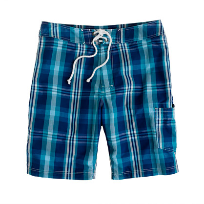 "9"" board shorts in surf plaid"