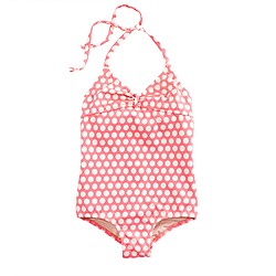 Girls' tie-back halter tank in polka dot