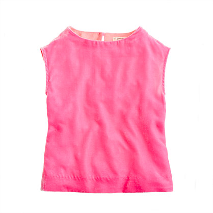 Girls' cap-sleeved velvet tee