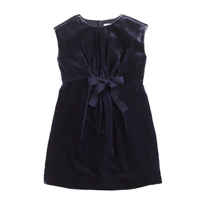 Girls' drapey velvet dress