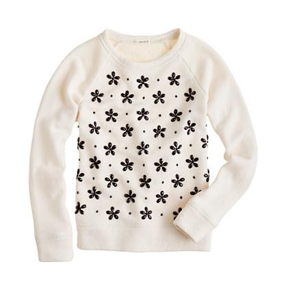 Girls' jeweled snowflake sweatshirt
