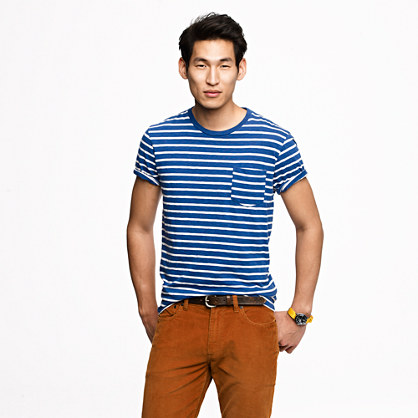 Broken-in pocket tee in deep cove stripe