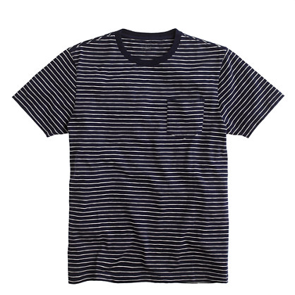 Broken-in pocket tee in ultramarine stripe