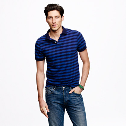 Slub jersey polo in porter blue stripe
