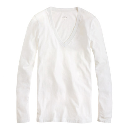 Tissue long-sleeve V-neck tee