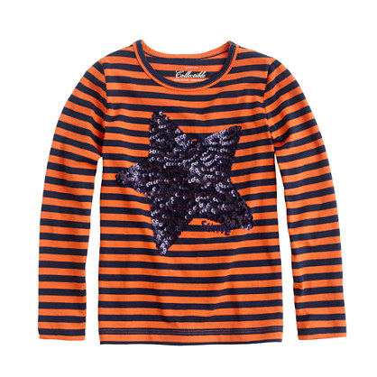 Girls' long-sleeve sequin star tee in stripe