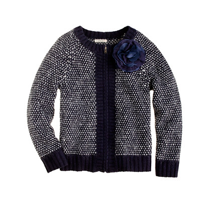 Girls' flower zip cardigan