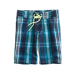 Boys' surf plaid board shorts