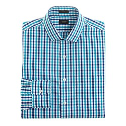 Slim non-iron dress shirt in aqua check
